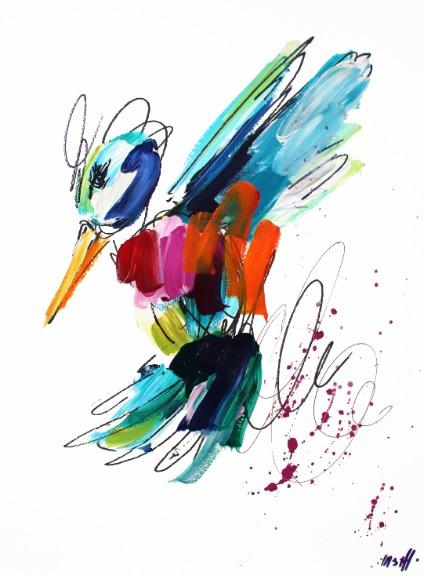 Ash Almonte: Orange, Pink, and Red Hummingbird